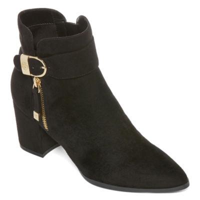 Liz Claiborne Womens Cornelia Block Heel Zip Bootie