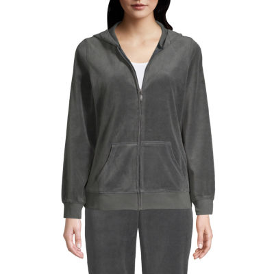 St. John's Bay Active Velour Hooded Lightweight Track Jacket-Tall