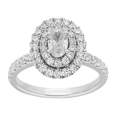 Grown With Love Womens 1 1/4 CT. T.W. Lab Grown White Diamond 14K White Gold Oval Engagement Ring
