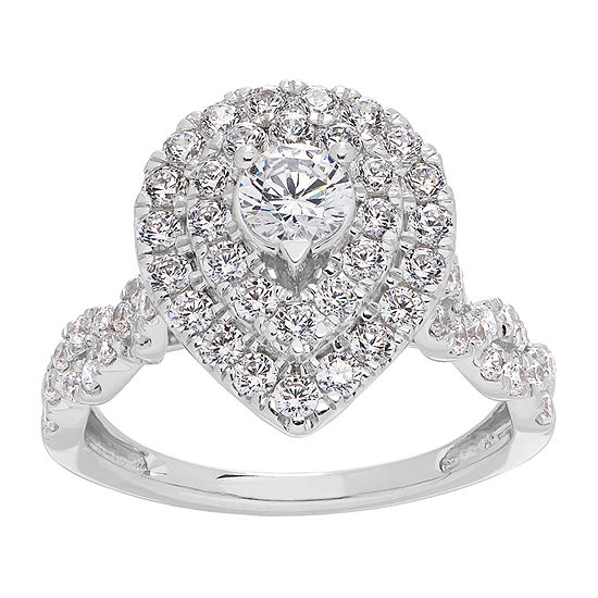 Grown With Love Womens 1 1/4 CT. T.W. Lab Grown White Diamond 14K White Gold Pear Engagement Ring