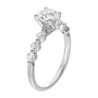Grown With Love Womens 1 3/8 CT. T.W. Lab Grown White Diamond 14K White Gold Engagement Ring