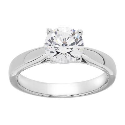 Grown With Love Womens 1 1/2 CT. T.W. Lab Grown White Diamond 14K White Gold Solitaire Ring