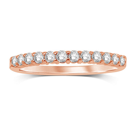 Womens 1/3 CT. T.W. Genuine White Diamond 10K Rose Gold Wedding Band