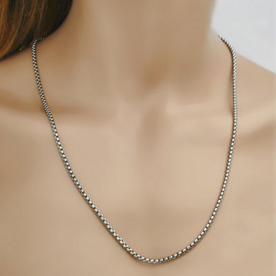 Stainless Steel 24 Inch Solid Link Chain Necklace