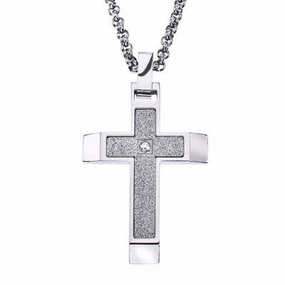 Mens White Cubic Zirconia Cross Pendant Necklace