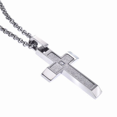 Mens White Cubic Zirconia Stainless Steel Cross Pendant Necklace