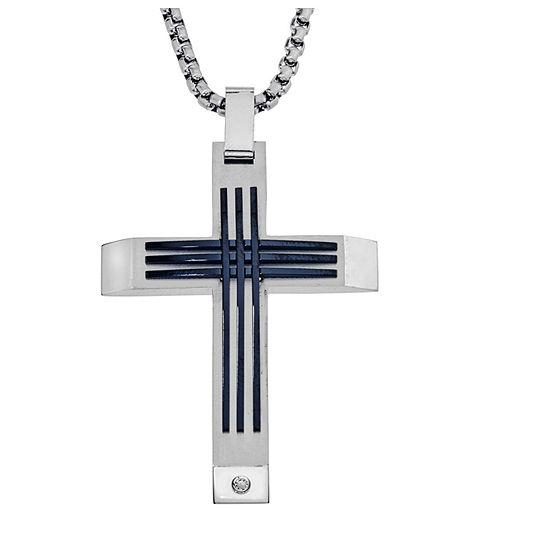 Mens Diamond Accent White Diamond Stainless Steel Cross Pendant Necklace