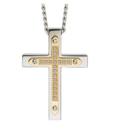 Mens 1/10 CT. T.W. Genuine White Diamond Stainless Steel Cross Pendant Necklace