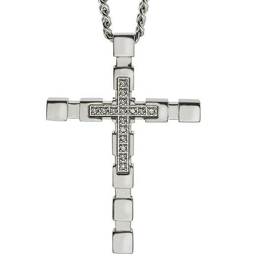 Mens Diamond Accent Genuine White Diamond Stainless Steel Cross Pendant Necklace