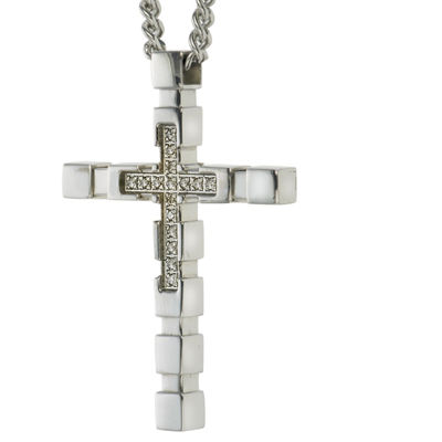 Mens Diamond Accent Genuine White Diamond Stainless Steel Cross Pendant Necklace