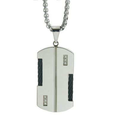 Mens Diamond Accent Genuines White Diamond Stainless Steel Dog Tag Pendant Necklace