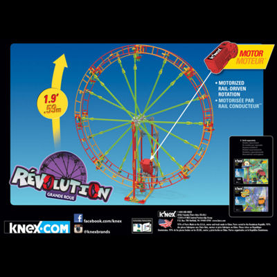 K'NEX Thrill Rides - Revolution Ferris Wheel Building Set – 344 Pieces with Battery-Powered Motor – Ages 7+ - Engineering Education Toy