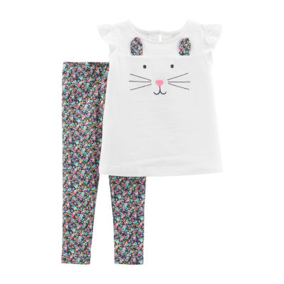 Carter's 2-Pc. Bunny Top & Floral Legging Set - Baby Girl