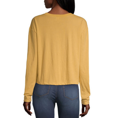 Flirtitude Long Sleeve Crew Neck T-Shirt-Womens Juniors