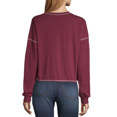 Flirtitude Long Sleeve Round Neck T-Shirt-Womens Juniors