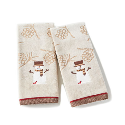 Saturday Knight Holiday Woodcut Snowman 2-pc. Embroidered Hand Towel