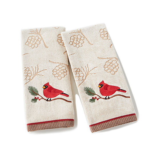 Saturday Knight Holiday Cardinal 2-pc. Embellished Hand Towel
