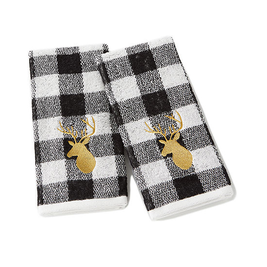 Saturday Knight Holiday Deer White 2-pc. Hand Towel