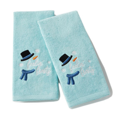 Saturday Knight Holiday Feeling Frosty 2-pc. Embroidered Hand Towel