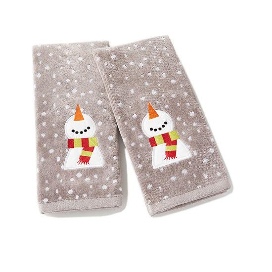 Saturday Knight Holiday Happy Snowman 2 Pc Hand Towel
