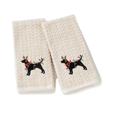 Saturday Knight Holiday Reindeer Dog 2-pc. Hand Towel