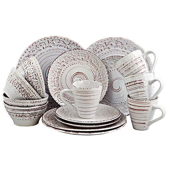 Elama Malibu Waves 16 Piece Dinnerware Set