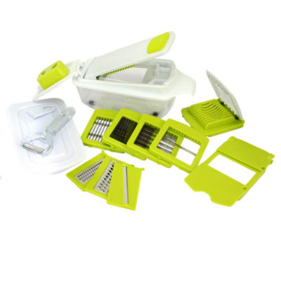 MegaChef 8 in 1 Multi-Use Slicer Dicer and Chopper with Interchangeable Blades, Vegetable and Fruit Peeler and Soft Slicer