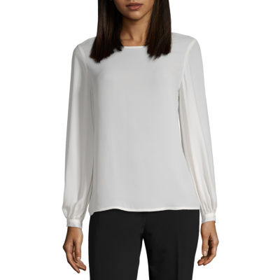 Worthington Womens Round Neck Long Sleeve Blouse