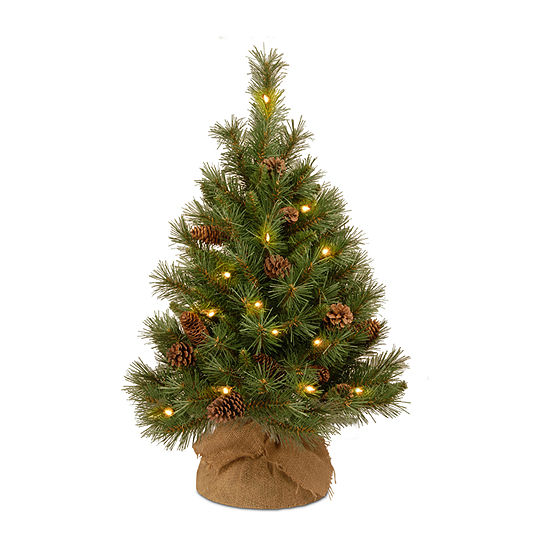 National Tree Co 3 Foot Pine Cone Burlap Pine Pre Lit Christmas Tree