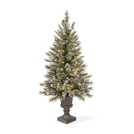 National Tree Co. 4 Foot Pine Pre-Lit Flocked Christmas Tree
