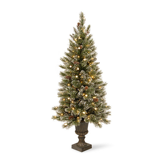 National Tree Co. 5 Foot Glittery Bristle Pin Pre-Lit Christmas Tree