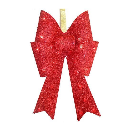 National Tree Co. Red Tinsel Bow Christmas Holiday Yard Art