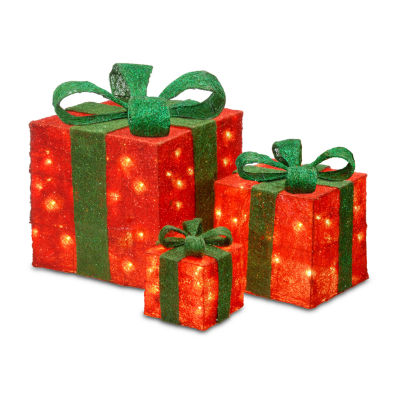 National Tree Co. Red Sisal Gift Boxes Holiday Yard Art
