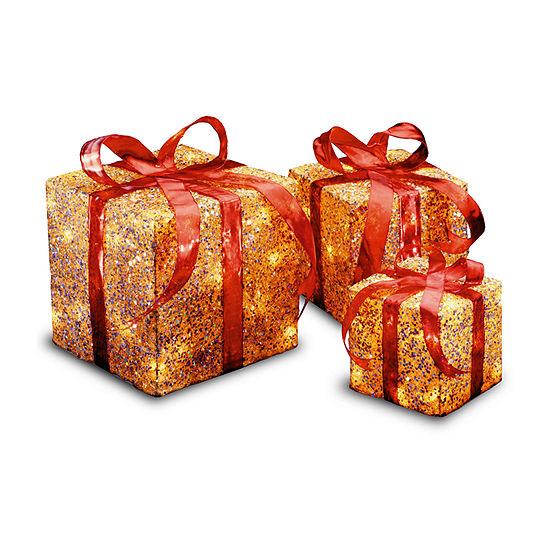 National Tree Co. Gold Sisal Gift Boxes Holiday Yard Art