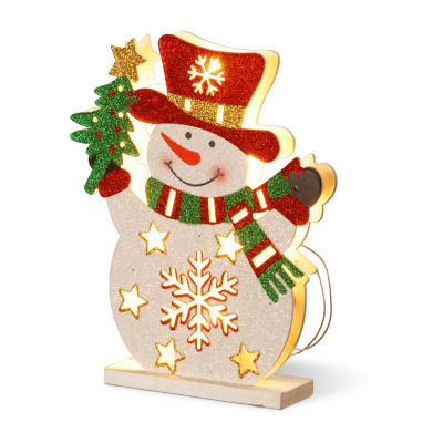"""National Tree Co. 12"""" Wood-Look Double Sided Snowman Tabletop Decor"""