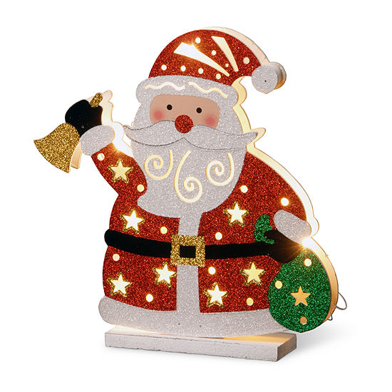 """National Tree Co. 12"""" Wood-Look Double Sided Santa Tabletop Decor"""