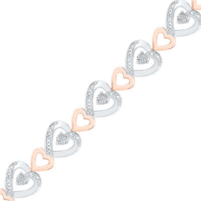 1/10 CT. T.W. Genuine White Diamond 14K Rose Gold Over Silver Sterling Silver Heart 7.5 Inch Tennis Bracelet