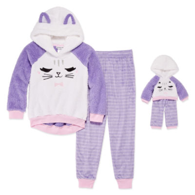"""""""For Me and My Dream Doll""""  2-pc. Cat Pant Pajama Set -Girls"""