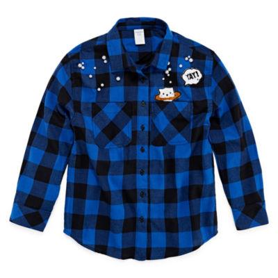 Arizona Graphic Flannel Button-Front Shirts - Girls' 4-16