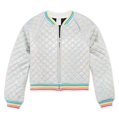 Arizona Quilted Rainbow Bomber Jacket - Girls' 4-16 & Plus