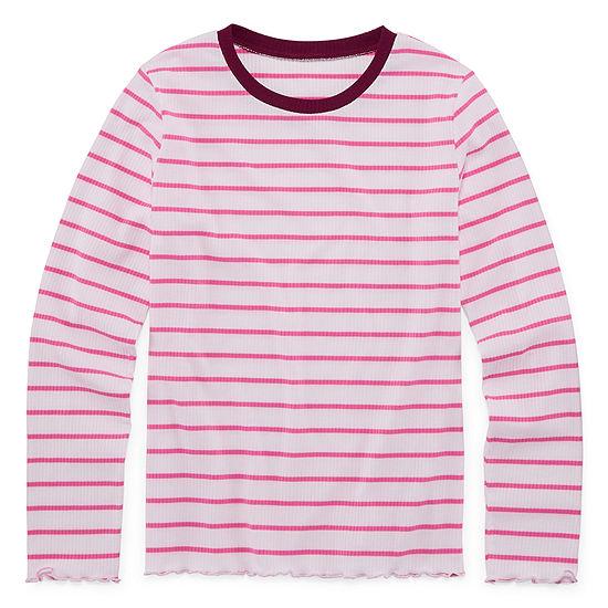 Arizona Long Sleeve Striped Rib Tee - Girls' 4-16