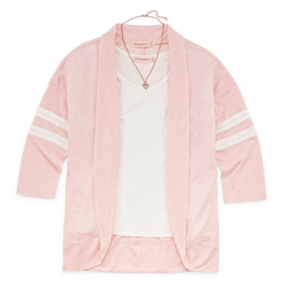 Inspired Hearts Varsity Cardigan Set with Necklace - Girls' 4-16