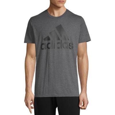 adidas Mens Crew Neck Short Sleeve Graphic T-Shirt-Athletic