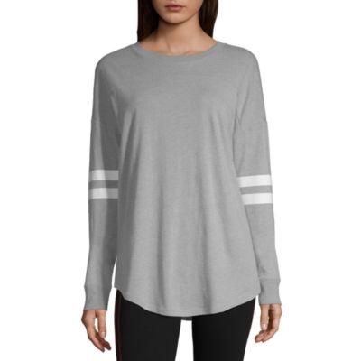 Flirtitude Long Sleeve Crew Neck Stripe T-Shirt-Womens Juniors