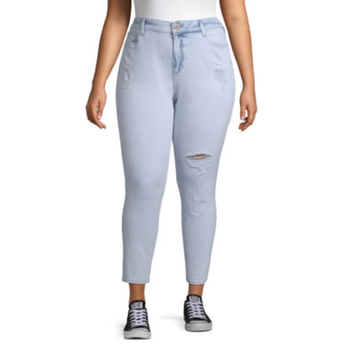 Arizona Womens High Waisted Skinny Cropped Jean - Juniors Plus
