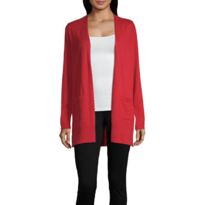 Liz Claiborne Simply Womens Long Sleeve Open Front Cardigan