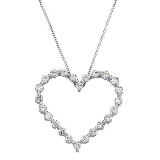 Grown With Love Womens 3/4 CT. T.W. Lab Grown Diamond 10K White Gold Heart Pendant Necklace