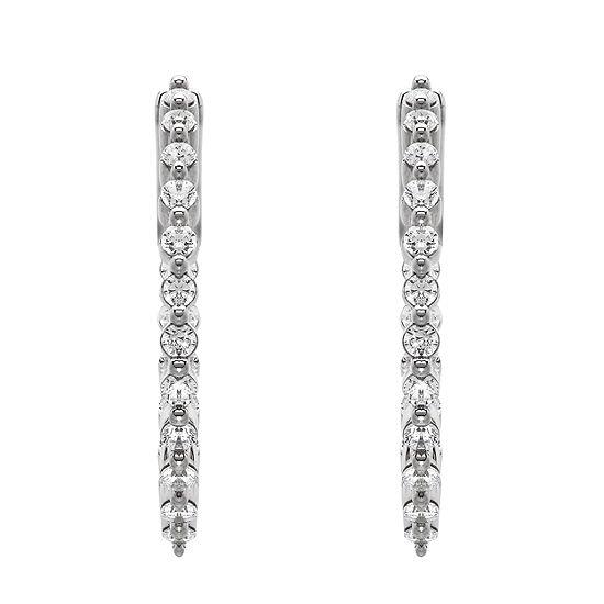 Grown With Love 3/4 CT. T.W. Lab Grown Diamond 10K White Gold 24.6mm Hoop Earrings