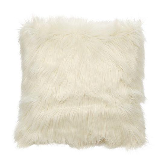Greer Large Faux Fur Square Decorative Pillow