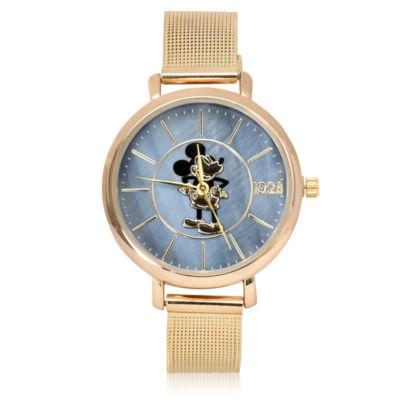 Disney Mickey Mouse Gold Tone Bracelet Unisex Watch-Mk8078jc